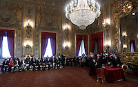 Una veduta della cerimonia del giuramento del nuovo governo al Quirinale, Roma, 28 aprile 2013..A view of the swearing in ceremony of the new government at the Quirinale presidential palace Rome, 28 April 2013..UPDATE IMAGES PRESS/Isabella Bonotto