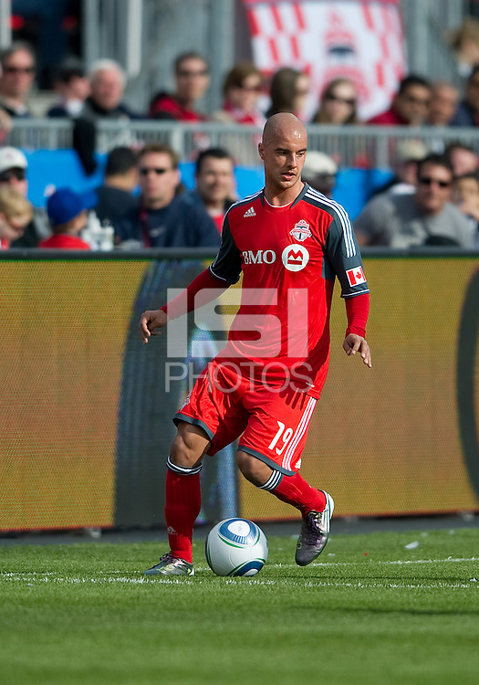 23 April 2011: Toronto FC defender Mikael Yourassowsky #19 in action during a game between the Columbus Crew and the Toronto FC at BMO Field in Toronto, Ontario Canada..The game ended in a 1-1 draw.