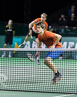 Rotterdam, Netherlands, 11 februari, 2018, Ahoy, Tennis, ABNAMROWTT, Qualifying Doubles final, Thiemo de Bakker (NED) and Sander Arends (NED) foreground<br /> Photo: Henk Koster/tennisimages.com