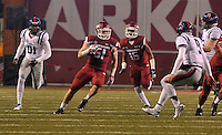 NWA Media/Michael Woods --11/22/2014-- w @NWAMICHAELW...University of Arkansas linebacker Brooks Ellis returns an interception during the 4th quarter of their 30-0 win over Ole Miss during Saturdays game at Razorback Stadium.