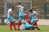 Turkey U21 players congratulate Baris Alici, who is partially hidden on the ground, after scoring their opening goal during Portugal Under-19 vs Turkey Under-21, Tournoi Maurice Revello Football at Stade Parsemain on 3rd June 2018