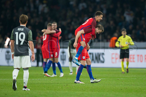 26.03.2016. Olympiastadion Berlin, Berlin, Germany.  International Football Friendly Germany versus England. England's Dele Alli celebrates with England's Eric Dier at full time
