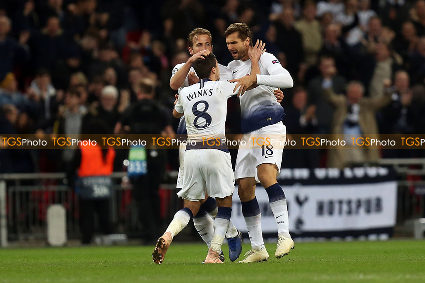 Harry Kane of Tottenham Hotspur is congratulated after scoring the first goal during Tottenham Hotspur vs PSV Eindhoven, UEFA Champions League Football at Wembley Stadium on 6th November 2018