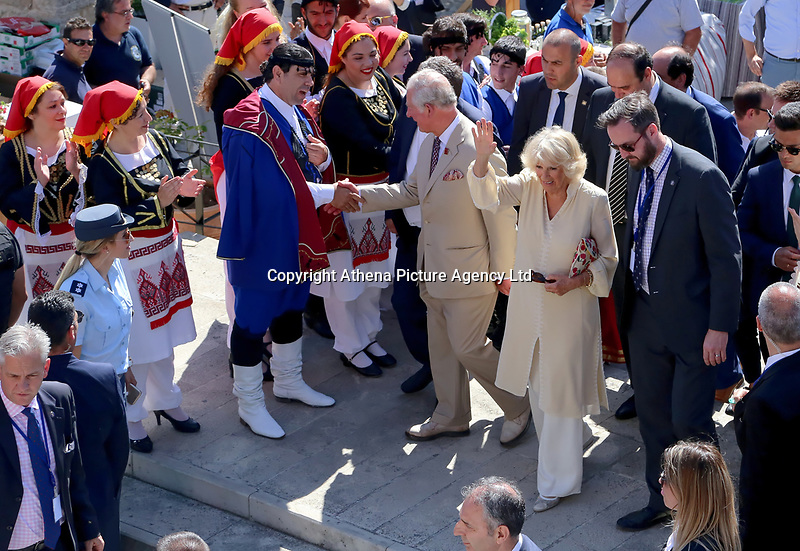 Pictured: Prince Charles and wife the Duchess of Cornwall depart from the village of Arhanes on the island of Crete, Greece. Friday 11 May 2018 <br /> Re: HRH Prnce Charles and his wife the Duchess of Cornwall visit thevillage of Arhanes near Heraklion, Greece.