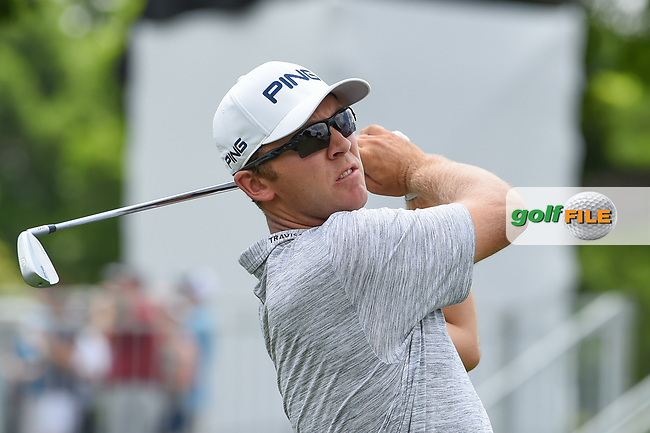 Seamus Power (IRL) watches his tee shot on 10 during round 1 of the 2019 Charles Schwab Challenge, Colonial Country Club, Ft. Worth, Texas,  USA. 5/23/2019.<br /> Picture: Golffile   Ken Murray<br /> <br /> All photo usage must carry mandatory copyright credit (© Golffile   Ken Murray)