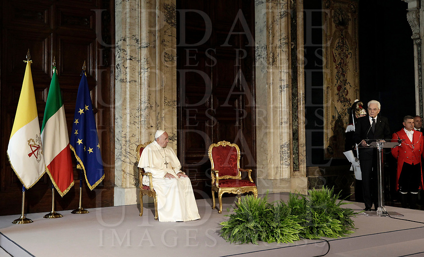 Pope Francis listens to talian President Sergio Mattarella (r) as he delivers his speech during their meeting at the Quirinale presidential palace, in Rome, on June 10, 2017.<br /> UPDATE IMAGES PRESS/Isabella Bonotto<br /> STRICTLY ONLY FOR EDITORIAL USE