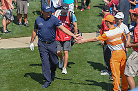 Phil Mickelson (USA) shakes hands with the crowd enroute to the 3rd tee during round 1 of the Houston Open, Golf Club of Houston, Houston, Texas. 3/29/2018.<br /> Picture: Golffile | Ken Murray<br /> <br /> <br /> All photo usage must carry mandatory copyright credit (© Golffile | Ken Murray)