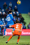 Gaku Shibasaki (L) of Getafe CF fights for the ball with Bakary Kone of Malaga CF during the La Liga 2017-18 match between Getafe CF and Malaga CF at Coliseum Alfonso Perez on 12 January 2018 in Getafe, Spain. Photo by Diego Gonzalez / Power Sport Images