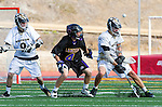 San Diego, CA 05/25/13 - Dylan Harris (Carlsbad #4) and John Rankin (Westview #4) in action during the 2013 Boys Lacrosse San Diego CIF DIvision 1 Championship game.  Westview defeated Carlsbad 8-3.