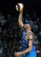 Phil Dalhausser, of the United States, in action during the men's final match between Usa and Latvia at the Beach Volleyball World Tour Grand Slam, Foro Italico, Rome, 23 June 2013. USA defeated Latvia 2-0.<br /> UPDATE IMAGES PRESS/Isabella Bonotto