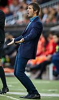 9th November 2019; Mestalla, Valencia, Spain; La Liga Football,Valencia versus Granada; Valencia CF Head coach Celades reacts to a missed chance - Editorial Use