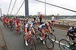 The peloton including Tony Martin (GER) Team Katusha Alpecin cross Theodor-Heuss-Bridge over the River Rhine during Stage 2 of the 104th edition of the Tour de France 2017, running 203.5km from Dusseldorf, Germany to Liege, Belgium. 2nd July 2017.<br /> Picture: Eoin Clarke | Cyclefile<br /> <br /> <br /> All photos usage must carry mandatory copyright credit (&copy; Cyclefile | Eoin Clarke)
