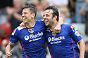 Jose Baxter of Oldham (r) celebrates scoring their second goal with Charlie MacDonald of Oldham<br />  Stevenage v Oldham Athletic - Sky Bet League 1 - Lamex Stadium, Stevenage - 3rd August, 2013<br />  © Kevin Coleman 2013