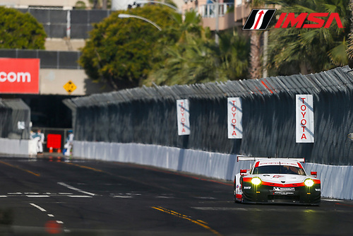 2017 IMSA WeatherTech SportsCar Championship<br /> BUBBA burger Sports Car Grand Prix at Long Beach<br /> Streets of Long Beach, CA USA<br /> Friday 7 April 2017<br /> 911, Porsche, Porsche 911 RSR, GTLM, Patrick Pilet, Dirk Werner<br /> World Copyright: Jake Galstad/LAT Images
