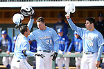 13 February 2015: North Carolina's Tyler Ramirez (14) celebrates his home run with Skye Bolt (20) and Adrian Chacon (18). The University of North Carolina Tar Heels played the Seton Hall University Pirates in an NCAA Division I Men's baseball game at Boshamer Stadium in Chapel Hill, North Carolina. UNC won the game 7-1.