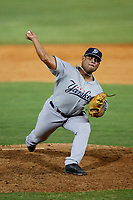 Pulaski Yankees relief pitcher Yoiber Marquina (61) delivers a pitch during a game against the Greeneville Reds on July 27, 2018 at Pioneer Park in Tusculum, Tennessee.  Greeneville defeated Pulaski 3-2.  (Mike Janes/Four Seam Images)
