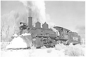 RGS K-27 #461 with plow in snow at Ridgway.<br /> RGS  Ridgway, CO  Taken by Richardson, Robert W. - 11/20/1951