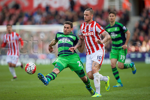 02.04.2016. Britannia Stadium, Stoke, England. Barclays Premier League. Stoke City versus Swansea City.   Stoke City forward Marko Arnautovic sees the ball clipped off his foot going forward by Swansea City defender Angel Rangel