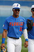 University of Florida Gators outfielder and pitcher Andrew Baker (35) before a game against the Siena Saints at Alfred A. McKethan Stadium in Gainesville, Florida on February 17, 2018. Florida defeated Siena 10-2. (Robert Gurganus/Four Seam Images)