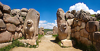 Photo of the Hittite releif sculpture on the Lion gate to the Hittite capital Hattusa 3