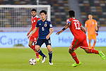 Endo Wataru of Japan (L) is tackled by Ahmed Al Mahaijri of Oman (R) during the AFC Asian Cup UAE 2019 Group F match between Oman (OMA) and Japan (JPN) at Zayed Sports City Stadium on 13 January 2019 in Abu Dhabi, United Arab Emirates. Photo by Marcio Rodrigo Machado / Power Sport Images