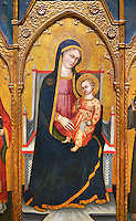 Gothic Altarpiece of Madonna and child, by Pietro da Pisa from liguria, circa 1401-1423, tempera and gold leaf on for wood.  National Museum of Catalan Art, Barcelona, Spain, inv no: MNAC 67192.