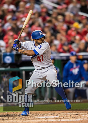 13 October 2016: Los Angeles Dodgers outfielder Howie Kendrick in action during the NLDS Game 5 against the Washington Nationals at Nationals Park in Washington, DC. The Dodgers edged out the Nationals 4-3, to take Game 5, and the Series, 3 games to 2, moving on to the National League Championship against the Chicago Cubs. Mandatory Credit: Ed Wolfstein Photo *** RAW (NEF) Image File Available ***