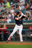 Lowell Spinners center fielder Cole Brannen (18) at bat during a game against the Vermont Lake Monsters on August 25, 2018 at Edward A. LeLacheur Park in Lowell, Massachusetts.  Vermont defeated Lowell 4-3.  (Mike Janes/Four Seam Images)