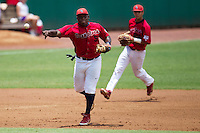 Stony Brook Seawolves third baseman William Carmona #5 throws to first base during the NCAA Super Regional baseball game against LSU on June 9, 2012 at Alex Box Stadium in Baton Rouge, Louisiana. Stony Brook defeated LSU 3-1. (Andrew Woolley/Four Seam Images)