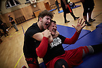 BERLIN 12.2016. Two wrestlers of GWF (German Wrestling Federation) during training.<br /> <br /> STORY: German Wrestler RAMBO MICHEL BRAUN alias EL COMANDANTE RAMBO during training at GWF Wrestling School in Berlin Neuk&ouml;lln.<br /><br />Other trainers are: Crazy Sexy mike (Hussein Chaer, man with headband) and Ahmed Chaer (man with beard) (Photo by Gregor Zielke)