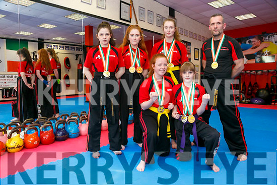 Black Belt Martial Arts, Pembrook Street members front l-r Muirean White, Isabel Shaw, Back l-r Ava Kelly, Ally Guilfoyle,  Laura Talbot, Alan Guilfoyle, won medals at the WKKC irish national championships in City West Dublin