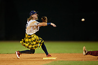 Savannah Bananas Kyler Marquis (3) throws to first base during a Coastal Plain League game against the Macon Bacon on July 15, 2020 at Grayson Stadium in Savannah, Georgia.  Savannah wore kilts for their St. Patrick's Day in July promotion.  (Mike Janes/Four Seam Images)