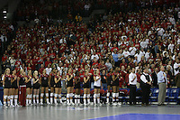 16 December 2006: Stanford Cardinal head coach John Dunning, associate head coach Denise Corlett, assistant coach Jason Mansfield, Cynthia Barboza, Janet Okogbaa, Joanna Evans, Bryn Kehoe, Nji Nnamani, Franci Girard, Heather Hernandez, Alex Fisher, Kristin Richards, Jessica Fishburn, Erin Waller, Lizzie Suiter, Michelle Mellard, and Foluke Akinradewo during Stanford's 30-27, 26-30, 28-30, 27-30 loss against the Nebraska Huskers in the 2006 NCAA Division I Women's Volleyball Final Four Championship match at the Qwest Center in Omaha, NE.