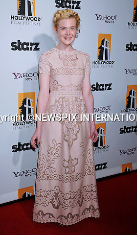 """ELLE FANNING.attends the 15th Annual Hollywood Film Awards Gala Presented By Starz at the Beverly Hilton Hotel, Beverly Hills, Los Angeles_24/10/2011.Mandatory Photo Credit: ©Crosby/Newspix International. .**ALL FEES PAYABLE TO: """"NEWSPIX INTERNATIONAL""""**..PHOTO CREDIT MANDATORY!!: NEWSPIX INTERNATIONAL(Failure to credit will incur a surcharge of 100% of reproduction fees).IMMEDIATE CONFIRMATION OF USAGE REQUIRED:.Newspix International, 31 Chinnery Hill, Bishop's Stortford, ENGLAND CM23 3PS.Tel:+441279 324672  ; Fax: +441279656877.Mobile:  0777568 1153.e-mail: info@newspixinternational.co.uk"""