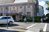 The exterior of the Pacific Tsunami Museum building, Hilo, Big Island of Hawai'i. First Hawaiian Bank donated the building to the museum in 1997; prior to that, it had a bank branch there.