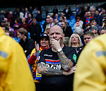 A Crystal Palace fan watches the players as they come over to applaud after loosing 5-0 during the premier league match at the Etihad Stadium, Manchester. Picture date 22nd September 2017. Picture credit should read: Simon Bellis/Sportimage