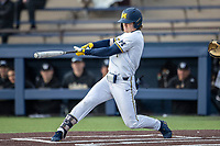 Michigan Wolverines outfielder Jesse Franklin (7) swings the bat against the Western Michigan Broncos on March 18, 2019 in the NCAA baseball game at Ray Fisher Stadium in Ann Arbor, Michigan. Michigan defeated Western Michigan 12-5. (Andrew Woolley/Four Seam Images)
