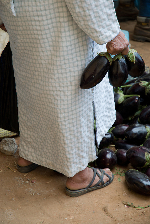 A woman buying aubergines at the market in Fez, Morocco.