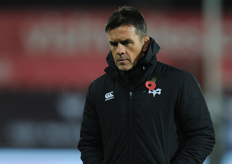 Ospreys' Head Coach Allen Clarke<br /> <br /> Photographer Kevin Barnes/CameraSport<br /> <br /> Guinness Pro14 Round 8 - Ospreys v Glasgow Warriors - Friday 2nd November 2018 - Liberty Stadium - Swansea<br /> <br /> World Copyright © 2018 CameraSport. All rights reserved. 43 Linden Ave. Countesthorpe. Leicester. England. LE8 5PG - Tel: +44 (0) 116 277 4147 - admin@camerasport.com - www.camerasport.com