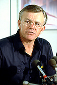 Washington Redskins head coach Joe Gibbs holds a press confrence to discuss the upcoming NFL Draft at Redskins Park in Herndon, Virginia on April 21, 1988.<br />