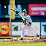 29 August 2019: Vermont Lake Monsters pitcher Tyler Baum on the mound against the Connecticut Tigers at Centennial Field in Burlington, Vermont. The Lake Monsters fell to the Tigers 6-2 in the first game of their NY Penn League double-header.  Mandatory Credit: Ed Wolfstein Photo *** RAW (NEF) Image File Available ***