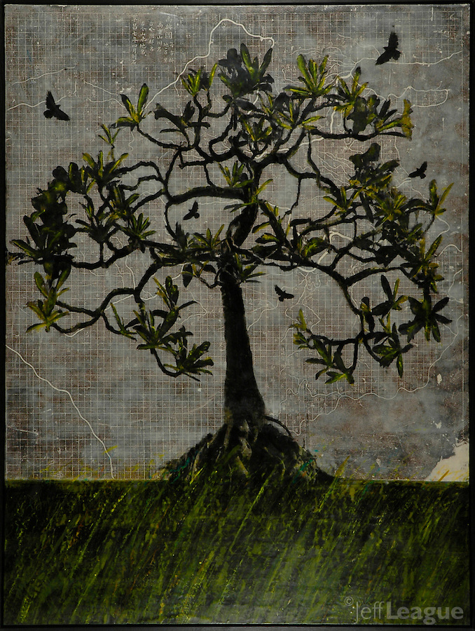 Tree of Life mixed media photo transfer over antique map of China from 1136AD