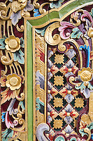 Jatiluwih, Bali, Indonesia.  Floral Decoration on Temple Door, Luhur Bhujangga Waisnawa Hindu Temple.