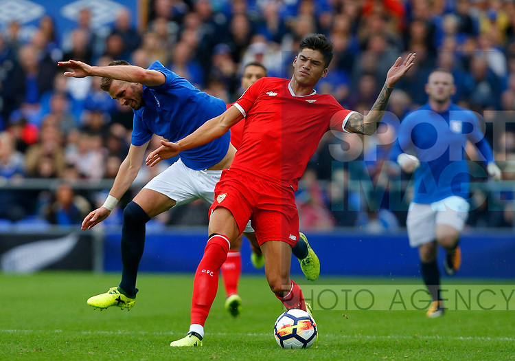 Everton's Morgan Schneiderlin (L) in action with Sevilla's Joaquin Correa during the pre season friendly match at Goodison Park Stadium, Liverpool. Picture date 6th August 2017. Picture credit should read: Paul Thomas/Sportimage