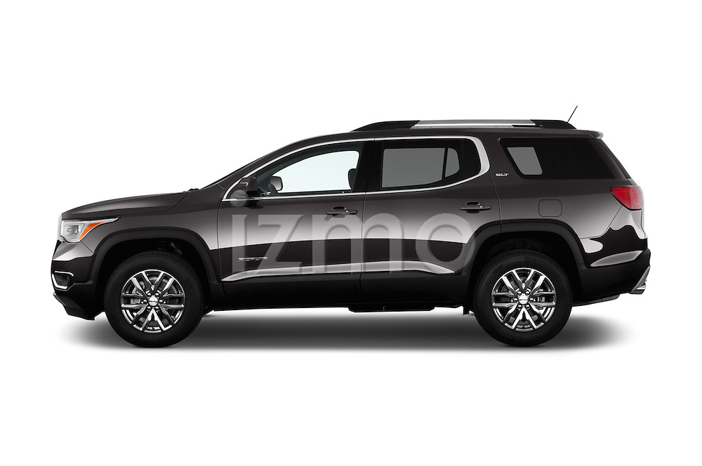 Car Driver side profile view of a 2017 GMC Acadia SLT-1-FWD 5 Door SUV Side View