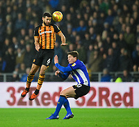 Hull City's Kevin Stewart vies for possession with Sheffield Wednesday's Adam Reach<br /> <br /> Photographer Chris Vaughan/CameraSport<br /> <br /> The EFL Sky Bet Championship - Hull City v Sheffield Wednesday - Saturday 12th January 2019 - KCOM Stadium - Hull<br /> <br /> World Copyright &copy; 2019 CameraSport. All rights reserved. 43 Linden Ave. Countesthorpe. Leicester. England. LE8 5PG - Tel: +44 (0) 116 277 4147 - admin@camerasport.com - www.camerasport.com