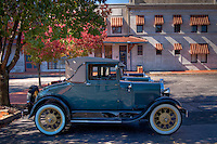 The Frisco Station, part of the Fort Smith National Historic Site.  A great Collection of restored Model A automobiles are parked in the parking lot.<br /> <br /> Currently, the Frisco Station houses the United States Marshal Museum. A new facility is planned to be constructed in the near future.<br /> <br /> <br /> When the contractor Anderson &amp; Company, of St Louis completed the building (1902-1904) it was an imposing structure for a town with a population of only 23,500. <br /> <br /> The building material is limestone blocks cut smoothly to resembling grey marble. They were quarried and transported to Fort Smith from Carthage, Missouri. Built in the Greek style, tall Ionic columns originally supported the portico on the north side of the building but were removed in the mid 20th century to make room for bridge expansion. <br /> <br /> The main waiting room was a spacious 26 feet by 36 feet 3 inches. The interior of the building was finished with hard pine and cypress rubbed with oil.