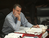 Washington, DC - April 8, 2004 -- Commissioner Timothy J. Roemer listens to the testimony of Doctor Condoleezza Rice, National Security Advisor, before the 9/11 Commission in Washington, D.C. on April 8, 2004.<br /> Credit: Ron Sachs / CNP<br /> [RESTRICTION: No New York Metro or other Newspapers within a 75 mile radius of New York City]