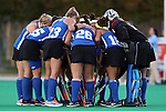 17 October 2014: Duke's starters huddle before the game. The Duke University Blue Devils hosted the University of North Carolina Tar Heels at Jack Katz Stadium in Durham, North Carolina in a 2014 NCAA Division I Field Hockey match. UNC won the game 1-0.