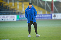 30th November 2019; Dens Park, Dundee, Scotland; Scottish Championship Football, Dundee Football Club versus Queen of the South; Callum Semple of Queen of the South inspects the pitch before the match - Editorial Use